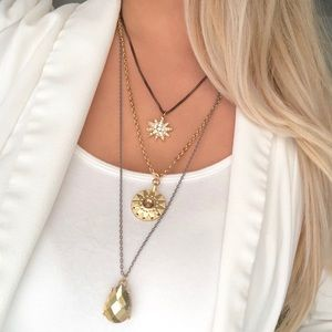 New York & Company gold layered star necklace